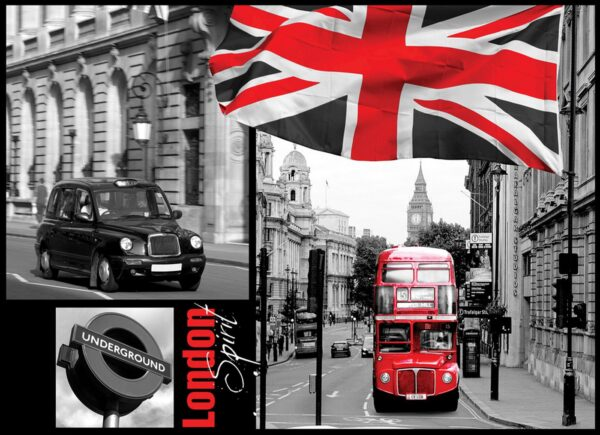 Fotomural Londres Autobús y Bandera 059 VE